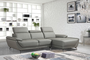 Divani Casa Sterling Modern Grey Eco Leather Sectional Sofa
