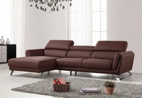 Divani Casa Doss Modern Brown Eco Leather Sectional Sofa