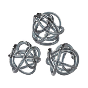 Grey Glass Knots - Set Of 3 Sculpture