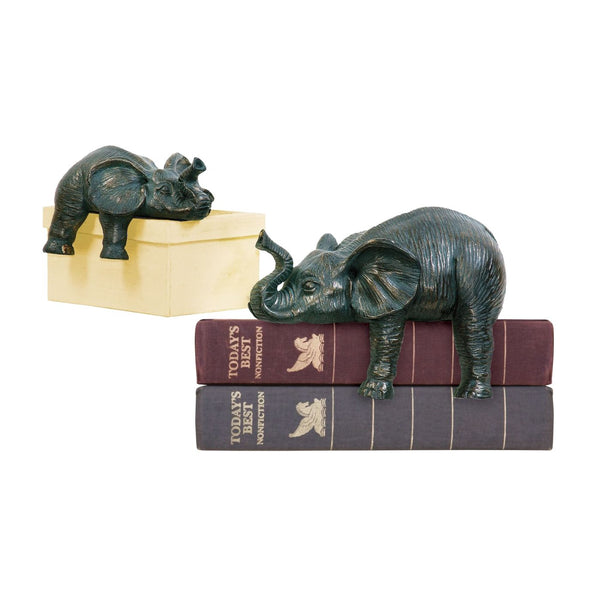 Set Of 2 Sprawling Elephants Dark Bronze Sculpture