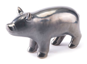 Antique Pig Metallic Gray Sculpture