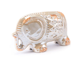 Antique Lg Elephant Distressed Pearl Sculpture