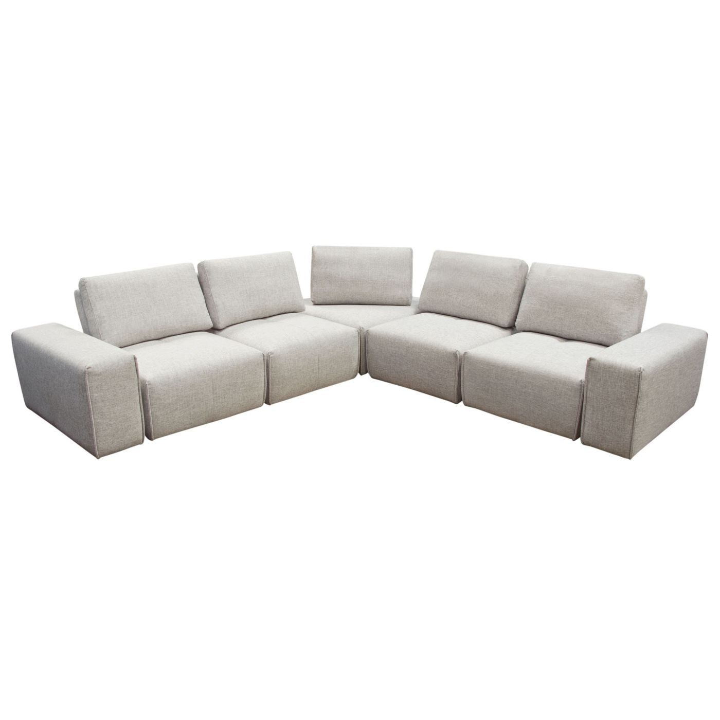 Buy Diamond Sofa JAZZ4AC1SC2ARLB Jazz Modular 5-Seater Corner Sectional  with Adjustable Backrests in Light Brown Fabric at Contemporary Furniture  ...