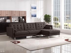 Opus Convertible Tufted Rf Chaise Sectional - Chocolate Fabric Sofa