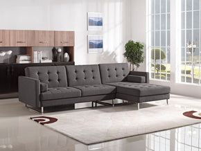 Opus Convertible Tufted Rf Chaise Sectional - Grey Sofa