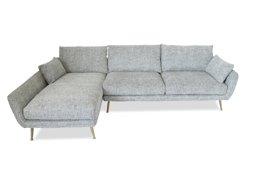 Harlow Mid-century Modern Sectional Sofa Fulton Grey - Left Facing