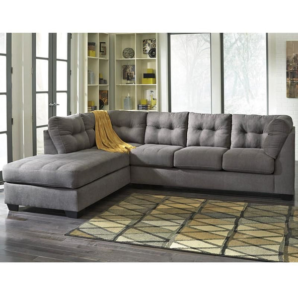 Benchcraft Maier Sectional With Left Side Facing Chaise In Charcoal Microfiber Sofa