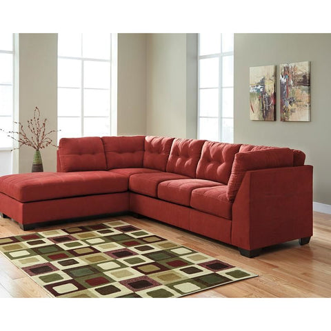 Benchcraft Maier Sectional With Left Side Facing Chaise In Charcoal Microfiber Red Sofa