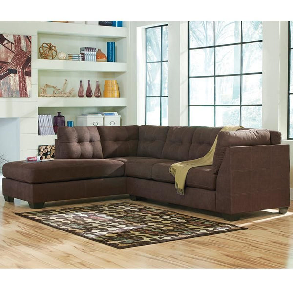 Benchcraft Maier Sectional With Left Side Facing Chaise In Charcoal Microfiber Walnut Sofa