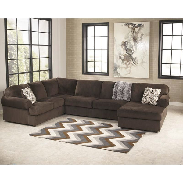 Signature Design By Ashley Jessa Place Sectional In Dune Fabric Chocolate Sofa