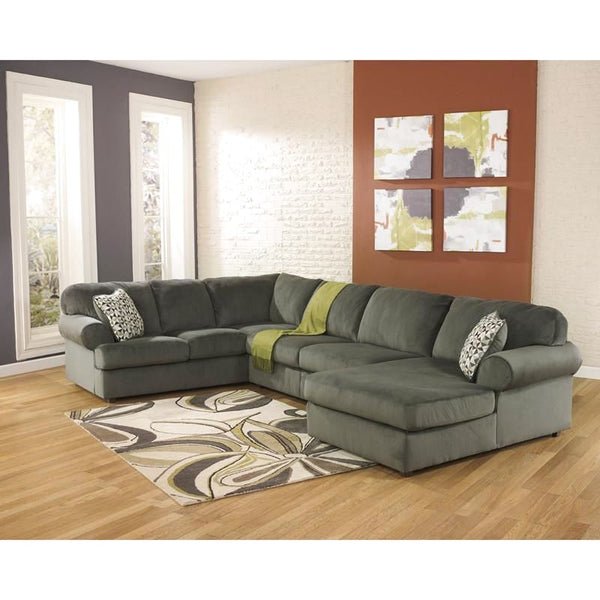 Signature Design By Ashley Jessa Place Sectional In Dune Fabric Gray, Green Sofa
