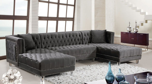 Sectional Sofas - Meridian 631Grey-Sectional Moda Grey Velvet 3pc. Sectional | 647899946936 | Only $1844.80. Buy today at http://www.contemporaryfurniturewarehouse.com