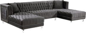 Moda Grey Velvet 3Pc. Sectional Sofa