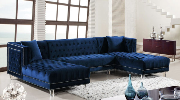 Buy Meridian 631Navy-Sectional Ida Navy Velvet Sectional at Contemporary  Furniture Warehouse