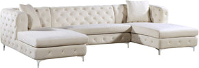 Gail Cream Velvet 3Pc. Sectional Sofa