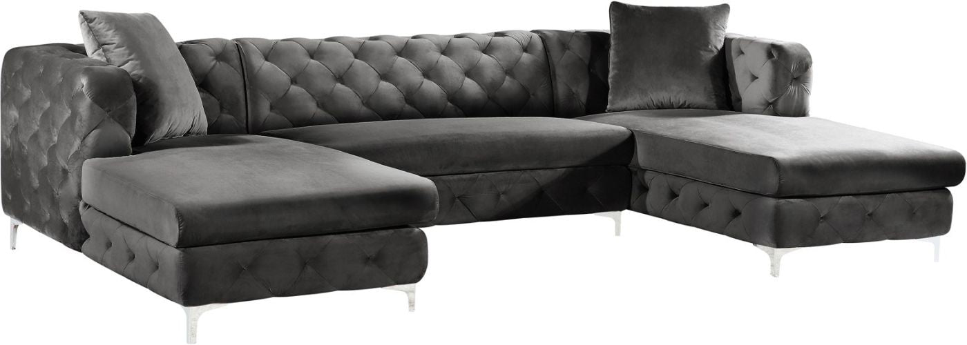 Buy Meridian 664Grey-Sectional Gail Grey Velvet 3pc. Sectional at  Contemporary Furniture Warehouse