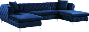 Gail Navy Velvet 3Pc. Sectional Sofa
