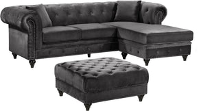 Sabrina Deep Tufted Grey Velvet Reversible Sectional Sofa