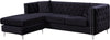 Jesse Deep Tufted Black Velvet 2pc. Reversible Sectional