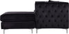 Jesse Deep Tufted Black Velvet 2Pc. Reversible Sectional Sofa