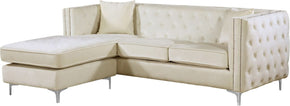 Jesse Deep Tufted Cream Velvet 2Pc. Reversible Sectional Sofa