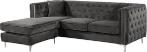 Jesse Deep Tufted Grey Velvet 2Pc. Reversible Sectional Sofa