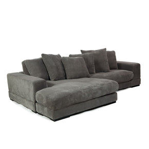 Aurelle Home Polk Grey Corduroy Sectional Sofa