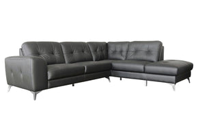 Harlow Leather Sectional Right Grey