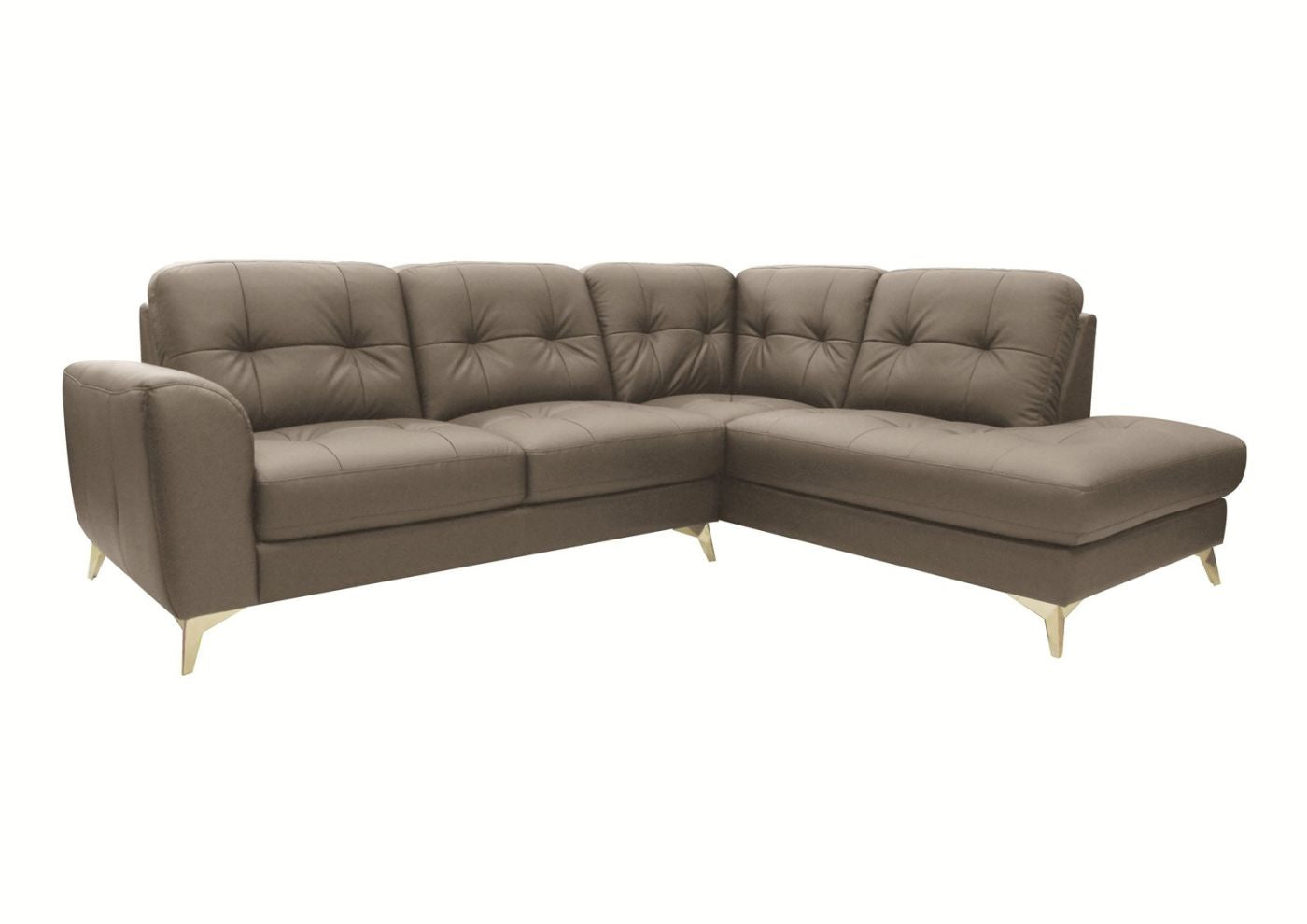 Ordinaire Cedric Leather Sectional Right Grey Sofa