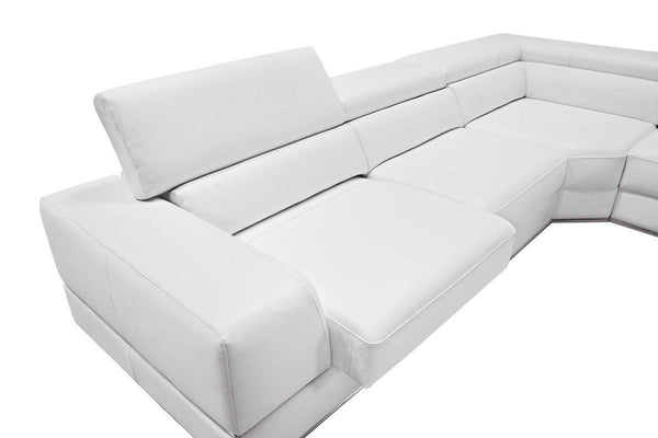 ... Divani Casa Pella Modern White Bonded Leather Sectional Sofa ...