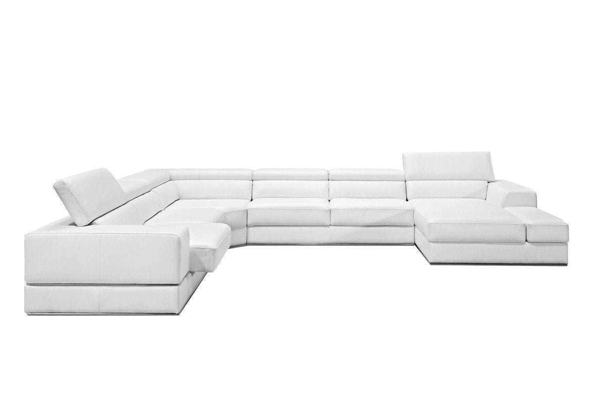 Vig Furniture VGCA5106-BL-WHT Divani Casa Pella Modern White Bonded Leather  Sectional Sofa sale at Contemporary Furniture Warehouse. Today only.