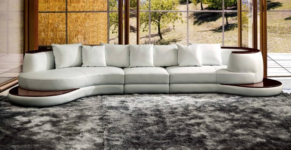 Vig Furniture VGEV105 Divani Casa Rodus - Rounded Corner Leather Sectional  Sofa With Wood Trim sale at Contemporary Furniture Warehouse. Today only.