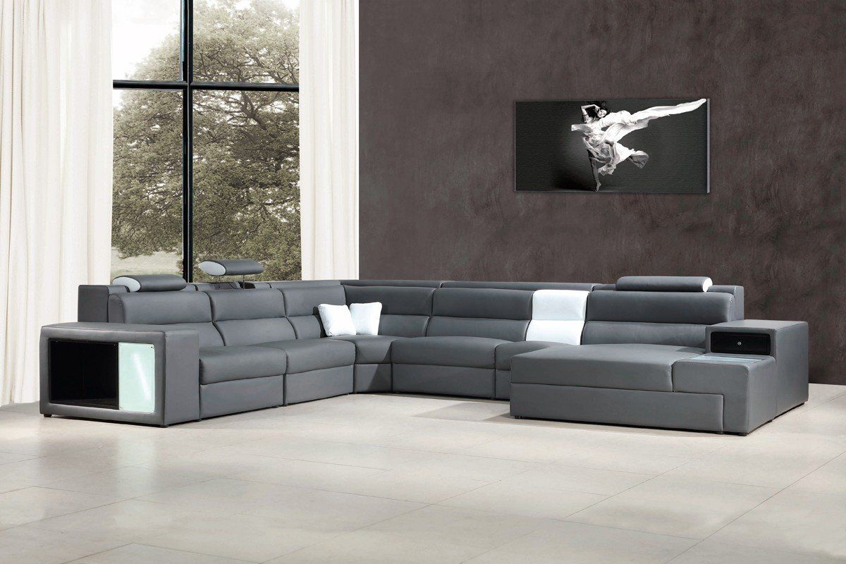 Vig Furniture VGEV5022-GR-BL Divani Casa Polaris Contemporary Gray Leather  Sectional Sofa sale at Contemporary Furniture Warehouse. Today only.