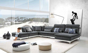 contemporary sectional couch. Lusso Horizon Modern Grey Fabric \u0026 Leather Sectional Sofa Contemporary Couch