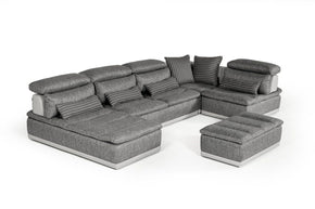 David Ferrari Panorama Italian Modern Grey Fabric & Leather Sectional Sofa