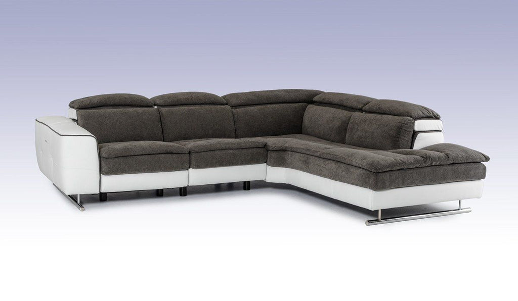 Lusso Starlight Italian Modern Grey & White Fabric & Leather Sectional Sofa