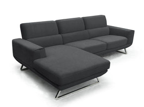 Divani Casa Becket Modern Dark Grey Fabric Sectional Sofa