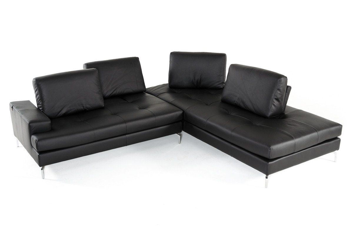 Vig Furniture Estro Salotti Voyager Modern Black Leather Sectional  ~ Modern Black Sectional Sofa
