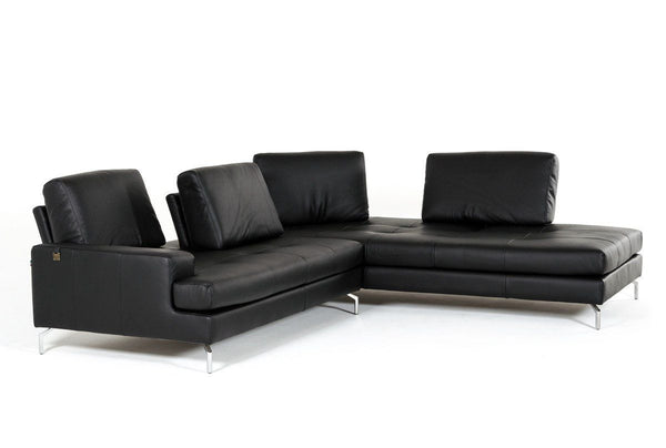 ... Estro Salotti Voyager Modern Black Leather Sectional Sofa ...