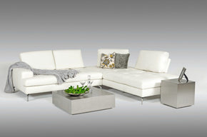 Estro Salotti Voyager Modern White Leather Sectional Sofa