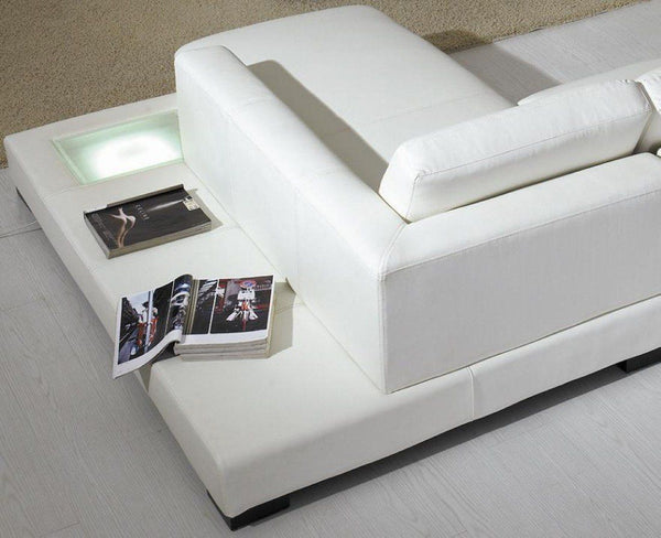 ... Divani Casa T35   Modern Leather Sectional Sofa With Light ...