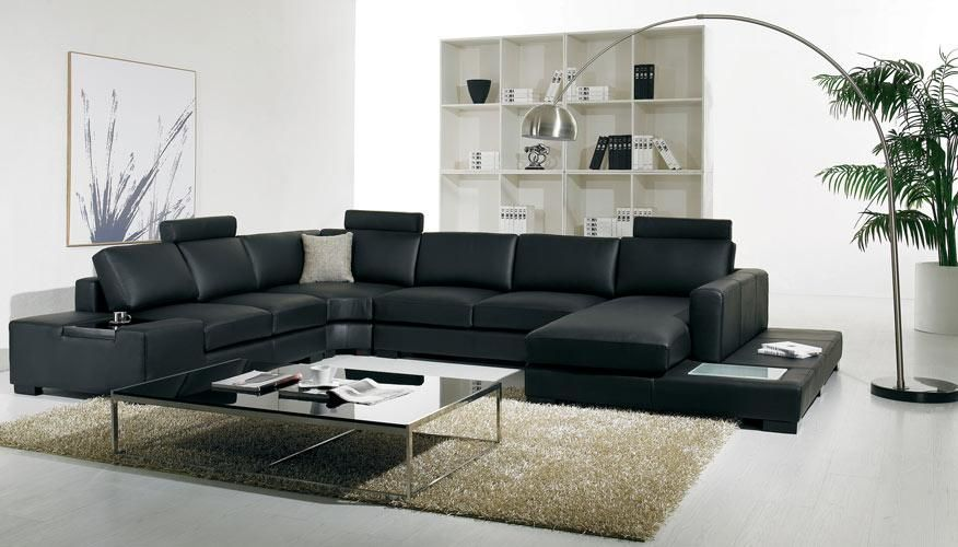 Vig Furniture VGYIT35-BLK-ECO Divani Casa T35 - Modern Eco-Leather  Sectional Sofa With Light sale at Contemporary Furniture Warehouse. Today  only.