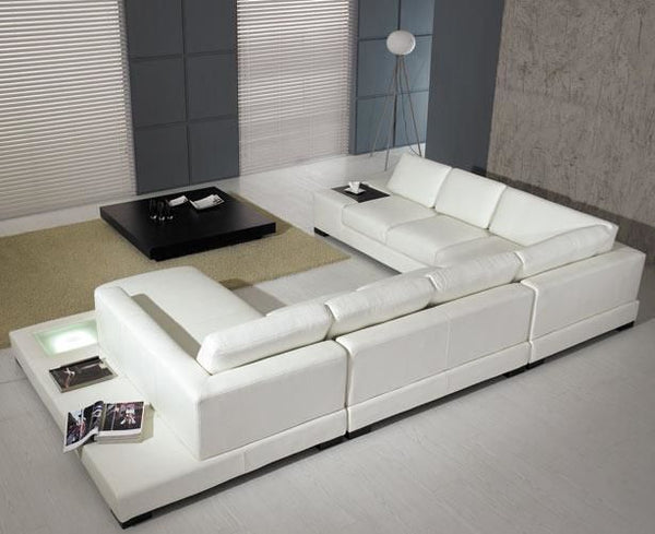 Vig Furniture VGYIT35-WHT-ECO Divani Casa T35 - Modern White Eco-Leather  Sectional Sofa With Light sale at Contemporary Furniture Warehouse. Today  ...