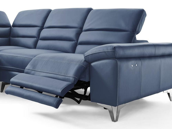 Johnson sectional sofa blue top grain Italian leather chaise by ...
