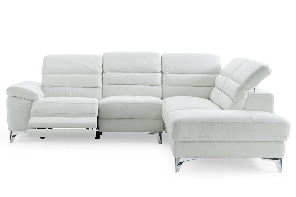 Buy Whiteline SR1349L-WHT Johnson sectional sofa white top grain Italian  leather chaise on right when facing at Contemporary Furniture Warehouse