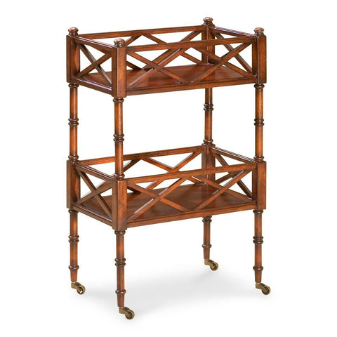 Foster Traditional Rectangular Mobile Server Dark Brown Serving Cart