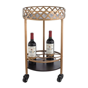 Serving Carts - Elk Group ELK-51-015 Circular Quatrefoil Bar Cart Gold And Walnut | 843558131167 | Only $176.40. Buy today at http://www.contemporaryfurniturewarehouse.com