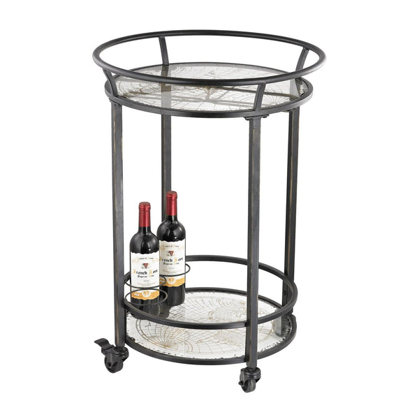 World Map Bar Cart Black With Gold Print On Glass Serving
