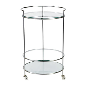 Roberta-Hr Rolling Cart In Brushed Aluminum With Clear And Frosted Tempered Glass Shelves Serving
