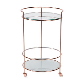 Roberta-Hr Rolling Cart In Brushed Copper With Clear And Frosted Tempered Glass Shelves Serving